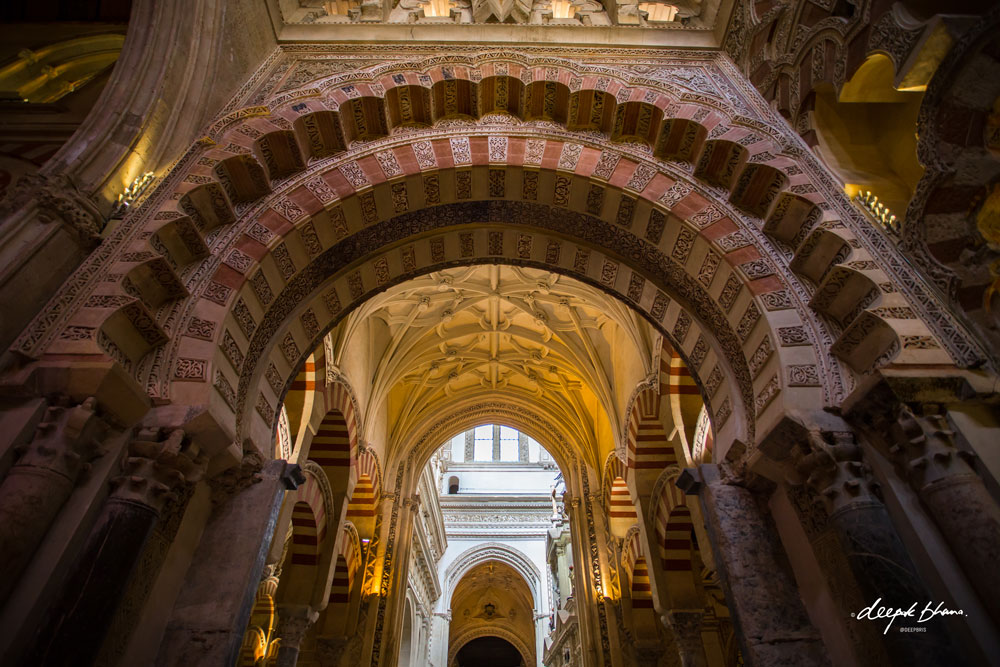 Looking up: Inside the Mosque-Cathedral of Cordoba, Spain