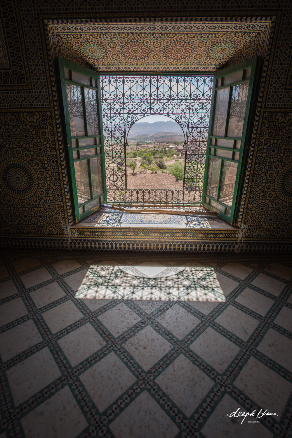 the-Telouet-Kasbah-Morocco-inside-tiles-desgns-window-view