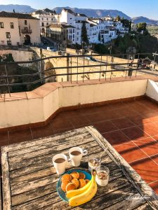 Ronda-bridge-Spain-breakfast-coffee-cereal-bananas
