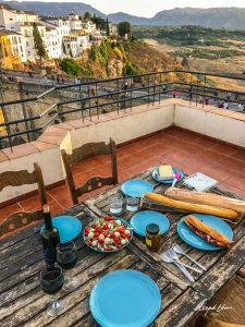 Ronda-bridge-Spain-mediterranean-lunch-bread-salad-olives-wine
